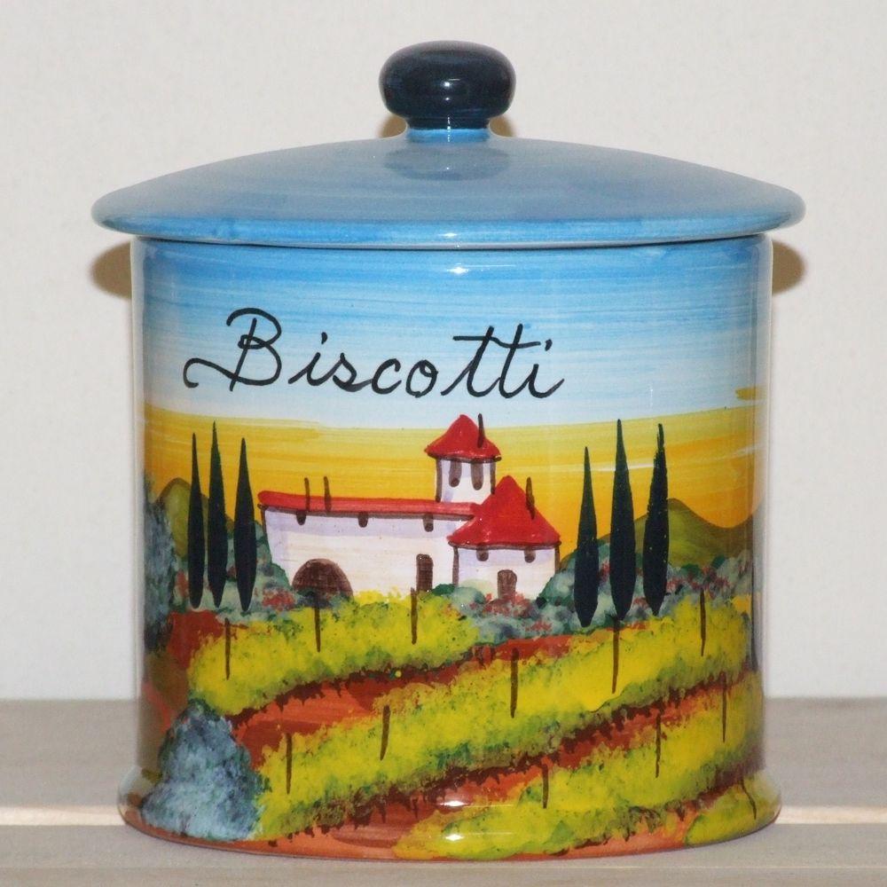 Ceramiche Toscane Montelupo Fiorentino porta biscotti paesaggi dipinto a mano